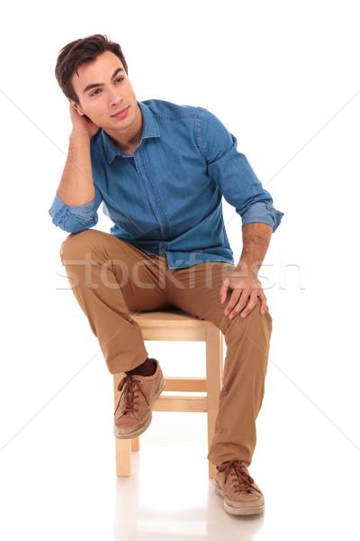 Egészalakos kép ülő lezser férfi álmodik Stock fotó © feedough