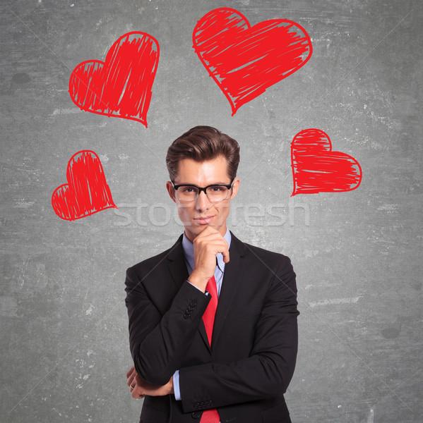 Férfi szeretet fiatal üzletember üzlet szív Stock fotó © feedough