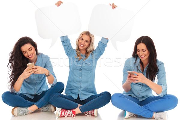 Сток-фото: женщину · друзей · телефонов