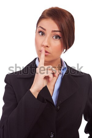 business woman making quiet gesture Stock photo © feedough