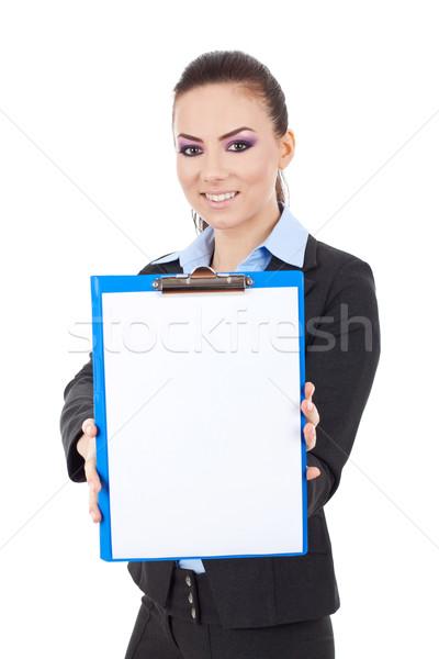 Mulher de negócios clipboard jovem sorrir cara Foto stock © feedough