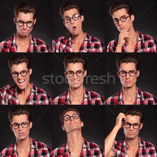 Jonge man gezicht uitdrukkingen geïsoleerd zwarte Stockfoto © feedough