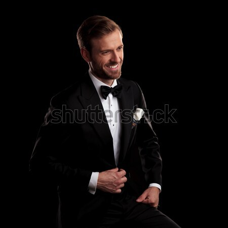 Elegante jonge man smoking huls Stockfoto © feedough