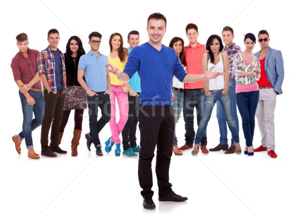 casual man welcoming to his team Stock photo © feedough