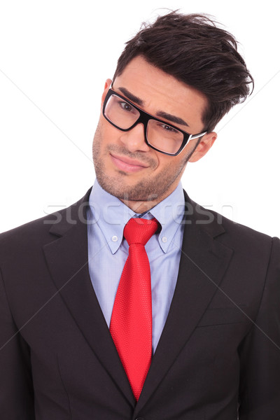 Stock photo: man looks suspiciously at you