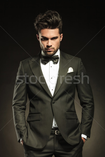 Handsome elegant business holding both hands in pockets. Stock photo © feedough