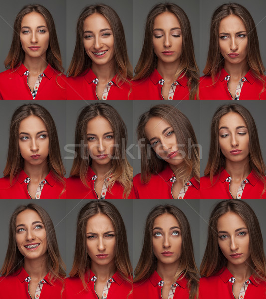 Jeunes femme rouge polo Photo stock © feedough