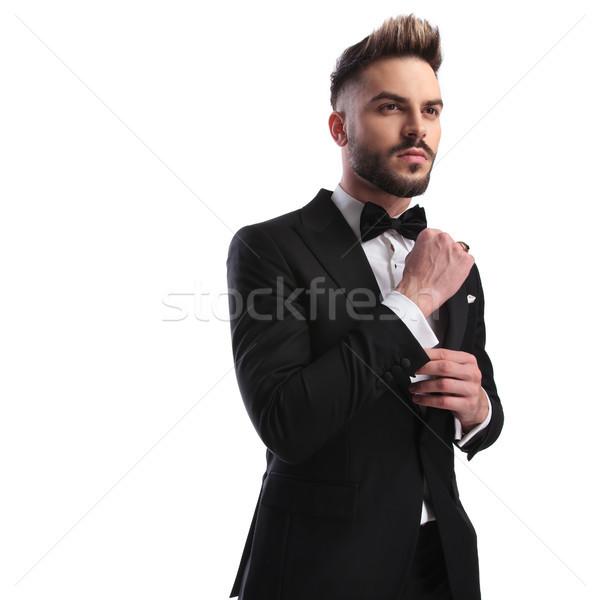 Oldalnézet divat modell csokornyakkendő megjavít mandzsettagombok Stock fotó © feedough