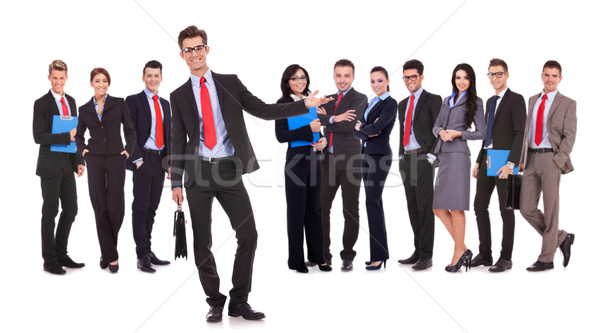 leader presenting his successful business team Stock photo © feedough