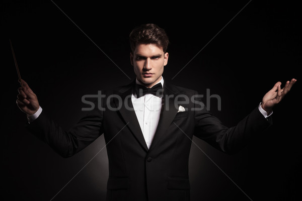 Orchestra conductor holding his hands up Stock photo © feedough