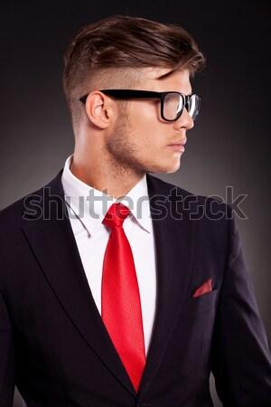 молодые сидящий деловой человек галстук студию Сток-фото © feedough