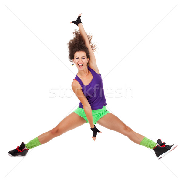 woman dancer jumping and dancing Stock photo © feedough