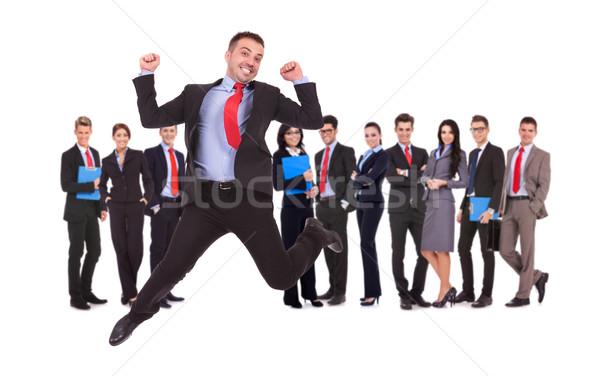 Photo stock: Homme · d'affaires · sautant · équipe · commerciale · jeunes · affaires · affaires