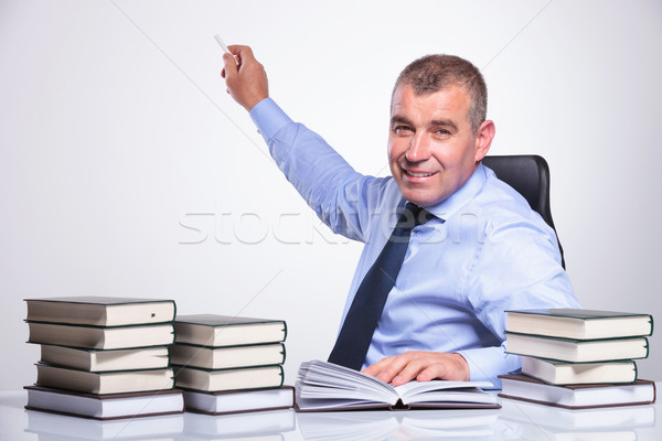 old business man presents with chalk Stock photo © feedough