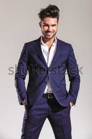 小さな ビジネスマン 向い カメラ 手 肖像 ストックフォト © feedough