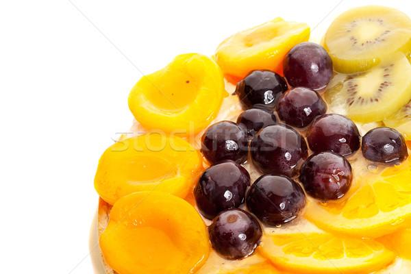 Jól kinéző gyümölcsök felső nyami torta fehér Stock fotó © feedough