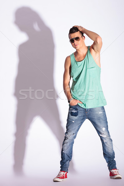 model stands with hand in pocket Stock photo © feedough