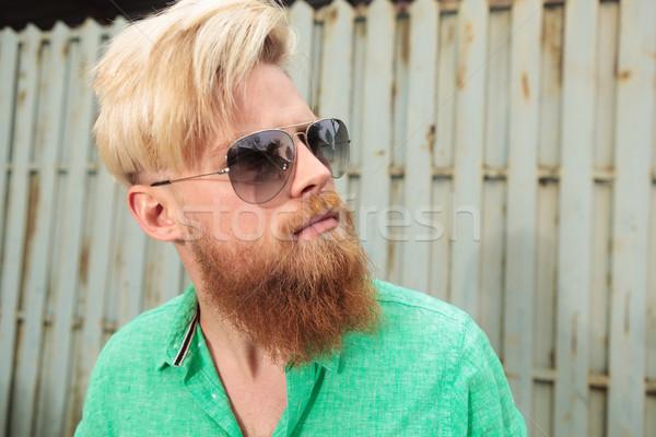 Foto stock: Vista · lateral · moço · barba · sorrir · homem