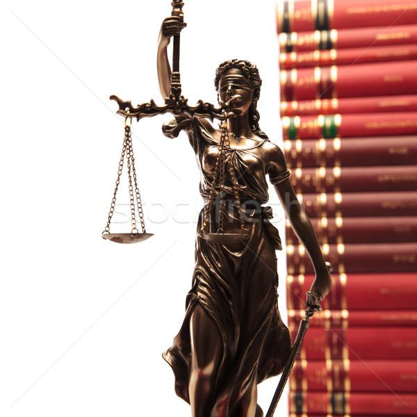 Sprawiedliwości bogini prawa książek okno Zdjęcia stock © feedough