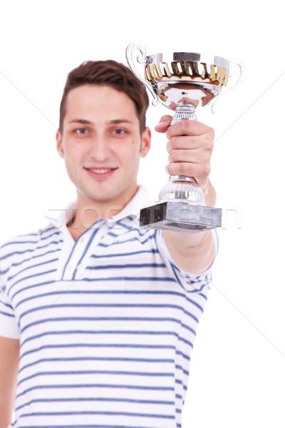 若い男 受賞 最初の場所 トロフィー 競争 白 ストックフォト © feedough