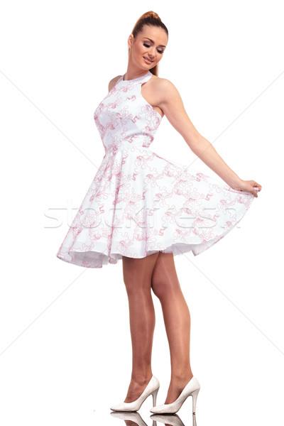 笑みを浮かべて 小さな ファッション 女性 下向き ストックフォト © feedough