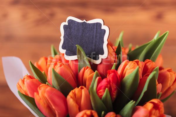 Lale çiçekler boş kart ahşap ağaç Stok fotoğraf © feedough