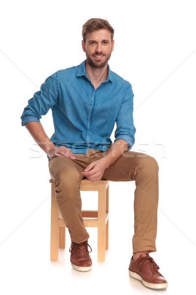 Fiatal lezser férfi elvesz törik ül Stock fotó © feedough