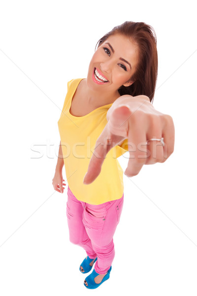 casual woman pointing to the camera Stock photo © feedough