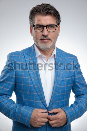 portrait from above of sexy casual man wearing glasses Stock photo © feedough
