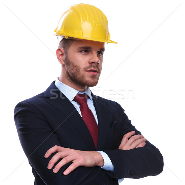 portrait of confident engineer boss looking to side Stock photo © feedough