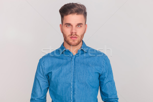 portrait of young casual man wearing a denim blue shirt Stock photo © feedough