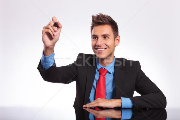 человека столе мнимый экране молодые деловой человек Сток-фото © feedough