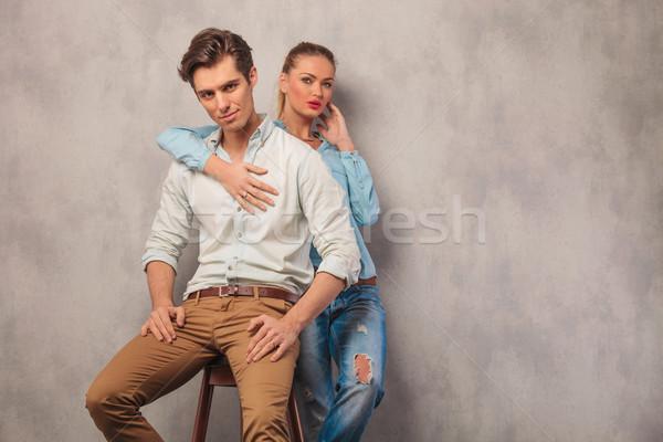 человека сидящий студию назад позируют Сток-фото © feedough