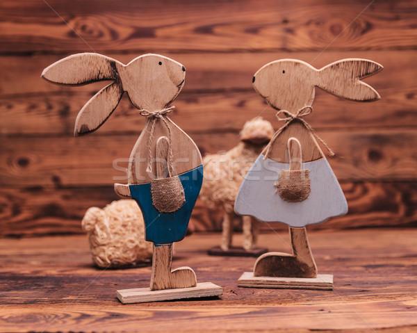 Pár fából készült húsvét játék birka régi fa Stock fotó © feedough