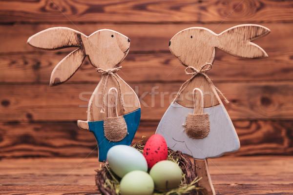 カップル 木製 イースター 立って 卵 バスケット ストックフォト © feedough
