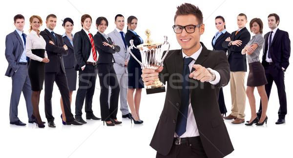 Stock fotó: Nyerő · üzleti · csapat · vezető · tart · nagy · trófea