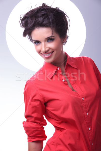 young woman smiling with aura behind head Stock photo © feedough