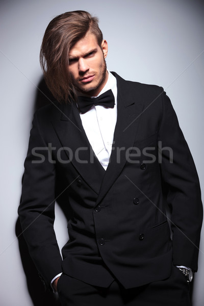 elegant young fashion man with long hair Stock photo © feedough