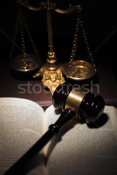 Marteau livre or échelle droit justice Photo stock © feedough