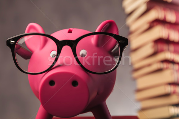 piggy bank weaking glasses and faces the camera Stock photo © feedough