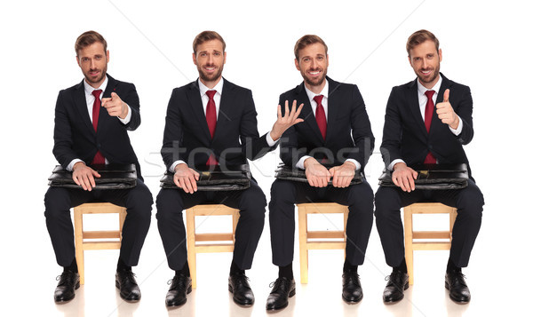 4 poses of the same businessman waiting on a chair Stock photo © feedough