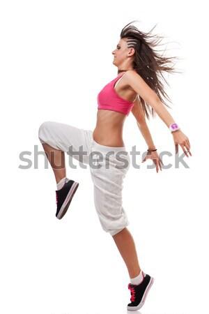 Fiatal nő breaktáncos póz oldalnézet fiatal izolált Stock fotó © feedough