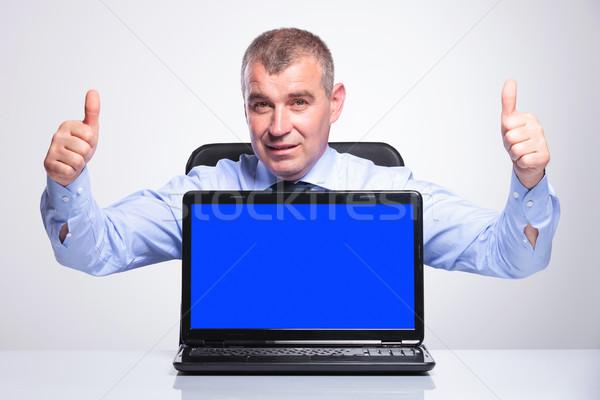 Stockfoto: Oude · zakenman · laptop · senior · man