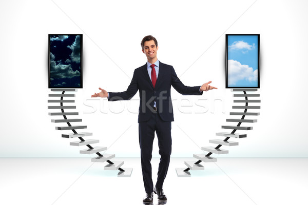 business man wlecoming you to make a good decision  Stock photo © feedough