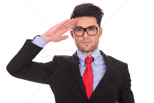 business man saluting Stock photo © feedough