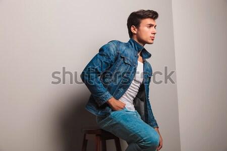 ストックフォト: ファッション · 男 · 座って · 階 · 髪