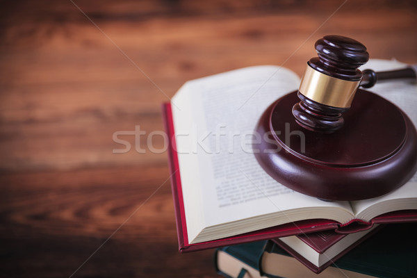 hammer of the judge on an open book with copyspace Stock photo © feedough