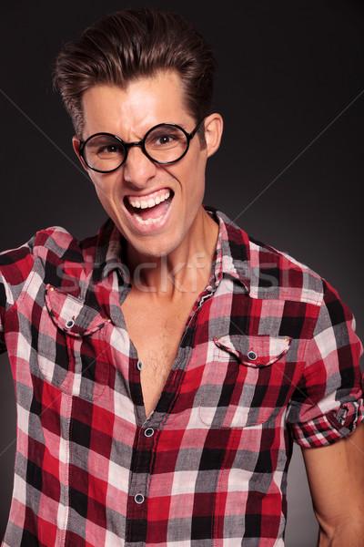 Сток-фото: молодые · случайный · человека · кричали · портрет · черный