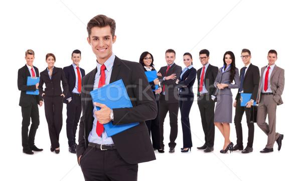 Photo stock: Leader · presse-papiers · équipe · commerciale · derrière · isolé