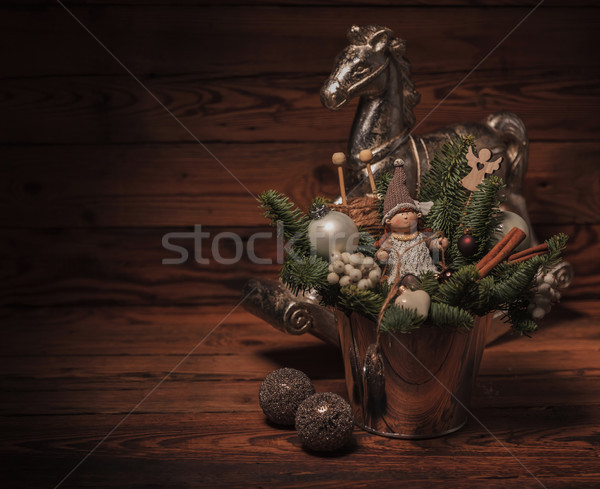 Stock photo: christmas decorations with copy space